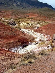Земля кажется особенно красной на фоне солончаков